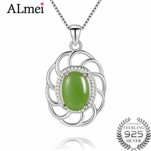 Almei 5ct Jasper Gemstone Pendant Necklace Silver 925 Sterling Light Green Zircon Costum Jewelry for Women with Box 40% FN075(China)
