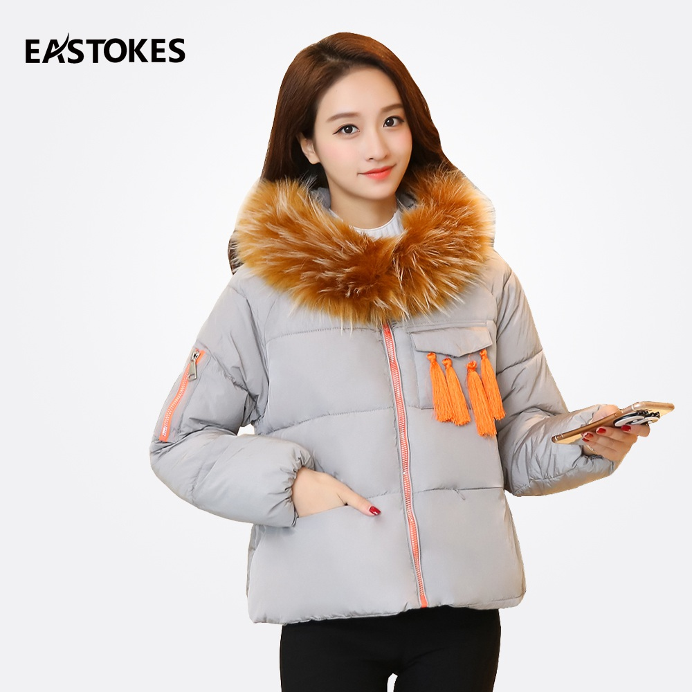 Women Winter Coats With Tassel Front Ladies Loose Style Hooded Jackets Fur Collar Women Zipper Short Parkas Female OutfitsÎäåæäà è àêñåññóàðû<br><br>