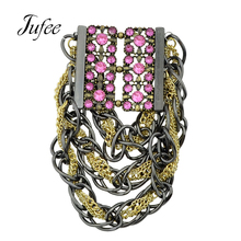 Jufee Punk Rock Style Gunblack Gold-Color Multi Layer Chain With Pink Rhinestone Statement Bracelets & Bangles For Women(China)