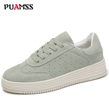 Spring New Women Shoes Flat Platform Casual Shoes Leather Female Fashion Classic White Canvas Shoes Increased Girls Plus Size(China)