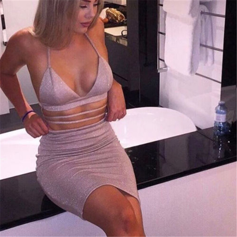 Gray two pieces set women sexy crop tops