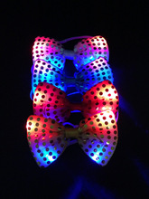 50pcs/lot New Colorful luminous led neck tie glow flashing necktie toys event birthday supplies light up party bow tie toys