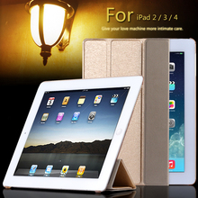 Super Stand Support Four Folders Case For Apple iPad 2 3 4 Slim Light Slik PU Leather Flip With Transparent Clear Matte Cover