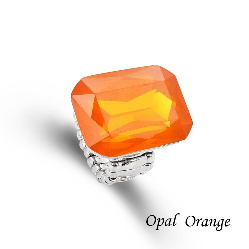 Ring for Women 7 opal Colors Big resin Fashion Elastic Stretch Finger Rings Jewelry Christmas Gift (2)