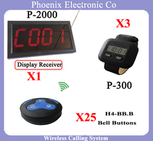Wireless Waiter Paging System For Restaurant With Guest Watch And Receiver And Call Bell P-2000-300-H4 (1PCS+3PCS+25PCS)