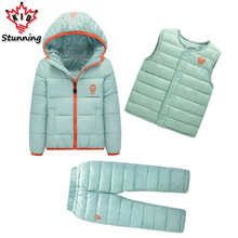 Clothing Sets Winter Snow Wear Boys Girls Clothing Sets Fashion Kids Clothes 3Pcs Down Jacket + Vest+Trousers Boys Suit(China)