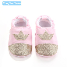 New Spring Autumn Shiny Crown And Cute Elephant Pattern 2 Designs Casual Indoor Soft Sole Baby Girl Boy Shoes For 0-15 Months