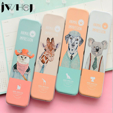 1 x personality Cartoon animal Pencil case box Tin box Pen Case School children gift stationery Free shipping(China)