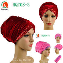African headtie Sequins and Beads african turban one pieces per pack Solid African scraf women headtie headwrap lady turban.
