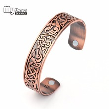 my shape Viking Bracelet Cuff Bangle With Phoenix Totem Magnetic Pieces Setting For Health Care Fitness Men Classical Copper(China)