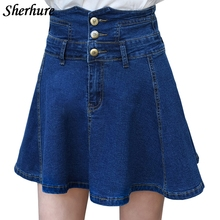 Buy 2018 Summer Skirts Women Solid A-Line Denim Skirts High Waist Slim Sexy Pleated Mini Skirts Saia Faldas Denim Skirts Plus Size for $23.39 in AliExpress store