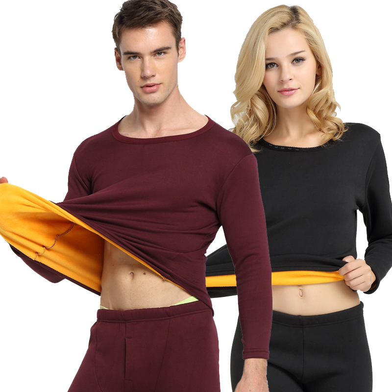 Thermal Underwear men Winter Women Long Johns sets fleece keep warm in cold weather size L to 6XL title=