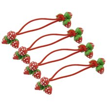 New 4 Pcs Practical Red Strawberry Decorate Elastic Band Hair Tie for Girls