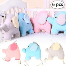 Buy Comfortable Baby Bed Bumper Cartoon Elephant Bumpers Baby Bed Crib Cotton Infant Bumper 6pcs/Set Bedding set for $29.12 in AliExpress store