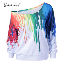 Gamiss Punk Sweatshirt Women Hoodies New Fashion Outside Tracksuit Hoodies Oil Painting Hip Hop 3D Print Hoodies & Sweatshirts