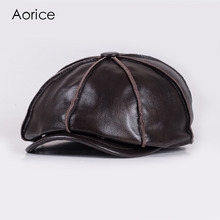 Aorice  Real Genuine Cow Leather Hat Cap Warm Winter Men Padding Brand New Baseball Octagonal Caps Newsboy HL058