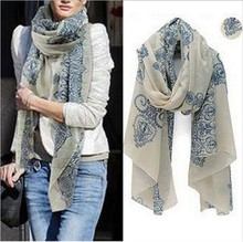 Chiffon Scarf For Women Blue and White Porcelain Pattern Wraps Elegant Shawls And Scarves Soft Shemagh Thin Foulard Stole