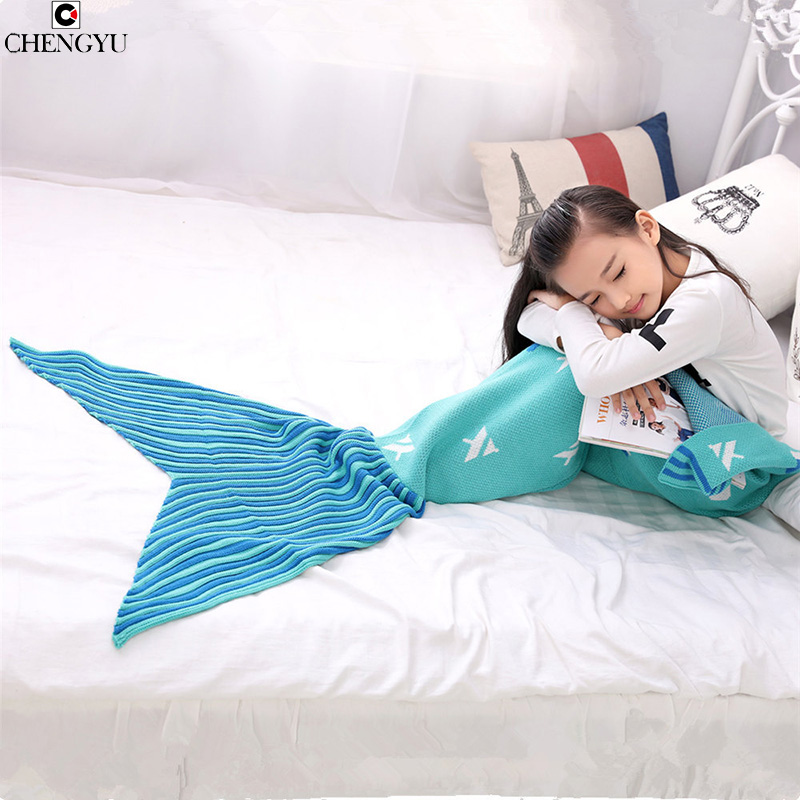 Children Bedding Sofa Mermaid Blanket Wool Fish Style Little Tail Blankets Warm Sleeping Child Kids Princess Loves Gift<br>