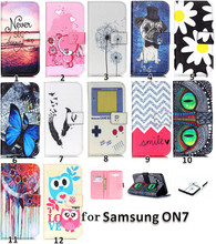 Retail Cute Cartoon Painting love flower butterfly owl dandelion Wallet Case For Samsung Galaxy On7 On 7 G6000 cell phone case