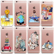 A Girl Summer Outing Travel Relax Beach Paris shopping Soft Silicone TPU Cases For iPhone 5 5S SE 6 6S Plus 7 7 Plus Phone Case