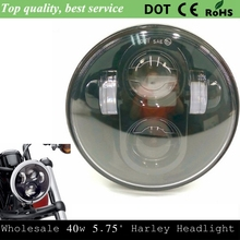 "DOT E9 5.75"" Harley Moto Black 5.75"" HID LED High Low Beam 5 3/4"" Front Driving Head Light Headlamp For Harley Sportster, Dyna"