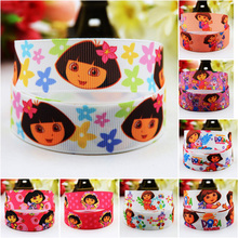 7/8'' (22mm) Ruban Dora Cartoon Character printed Grosgrain Ribbon party decoration satin ribbons OEM 10 Yards