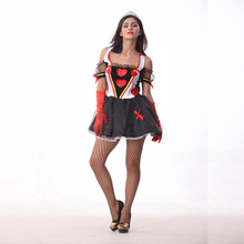 Halloween Game Uniforms Sexy Nobility Dress Red  Heart Printing Poker Queen Cosplay Stage Costume Strapless Black Net Yarn Dress