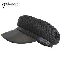 Fibonacci 2018 nuevas mujeres Sombreros militares verano paja pu BRIM patchwork  artificial cuero del ejército Flat Top sombrero . 42f602abf31