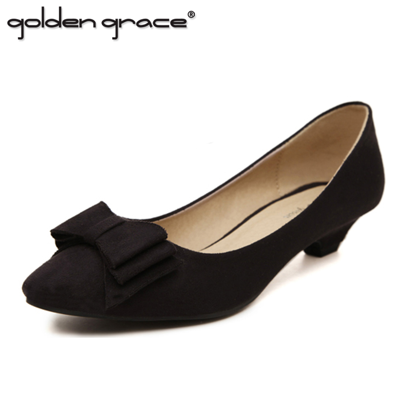2017 Thick Heel Shallow Mouth Pointed Toe Low-heeled Black Shoes Size Womens Shoes<br>