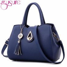 Gusure 2017 new arrivel Fashion Women Messenger Bags Handbag PU Leather totes Bag Famous Brand tassel Women Bag Top-Handle Bags(China)