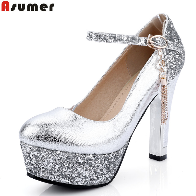 Asumer new fashion ankle strap women pumps round toe gold silver high heels party wedding shoes woman sexy lady shoes<br>