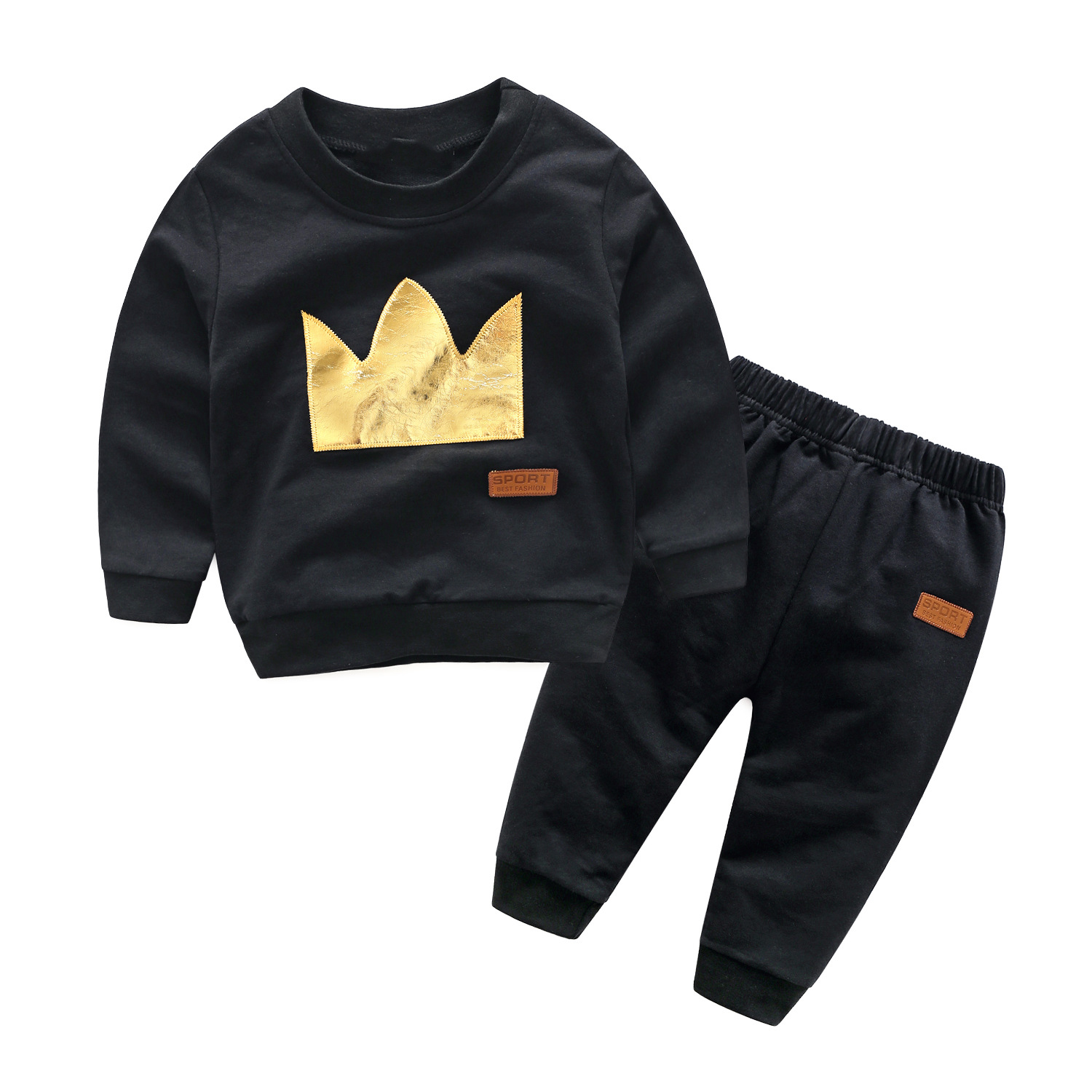 Spring Autumn Baby Sets Boys Black Long Sleeve Yellow Crown Casual Cotton Sets T-shirt + Pants Baby Clothes Sets<br>