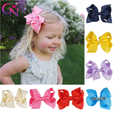 "30 Pcs/lot 4"" Plain Hair Bows With Clips For Kids Girls Boutique Ribbon Hair Bow Classic Hair Bow Hair Accessories 30 Colors(China)"