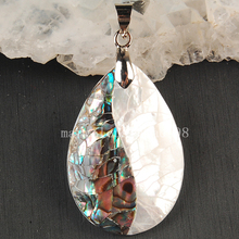 Free Shipping Beautiful jewelry  20x30mm New Zealand Abalone Shell Water Drop Pendant Bead MC3593