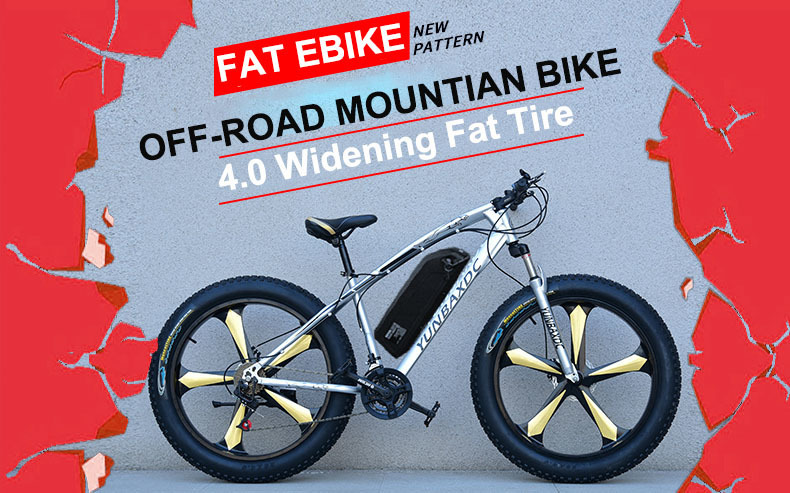 26inch Snow Electric Mountain Bicycle 48v Lithium Battery 500w Motor Fat Ebike 4.0 Tires High Speed Brushless Electric Bike