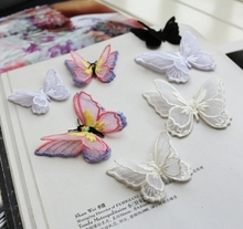 10PCS Multicolor diy stereo double layer butterfly embroidery lace fabric applique patch stickers clothes decoration RS772