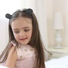 1pcs Cute Black Ears Hair Accessories Kids Girls Sequins Headbands Headwear for Boy Girl Birthday Party Celebration