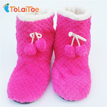 ToLaiToe free shipping Women indoor shoes cute plush 2 balls warm Indoor slippers Household slippers winter warm Indoor slippers(China)