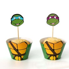 12 set/lot Teenage Mutant Ninja Turtles Cake Cups Picks Toppers Birthday Dec wedding Party supplies Paper Beard Cupcake Wrappers