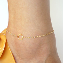 Fashion Simple Metal Circle Anklet Gold&Silver Plated Anklets Summer Sandal Barefoot Foot Chain Women Girls Best Gifts