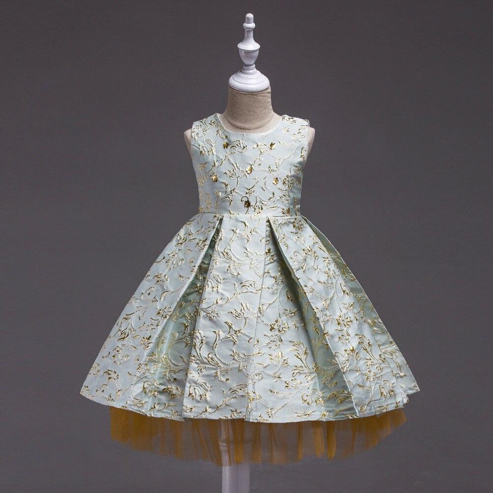 Girls summer dress Sleeveless Bronzing embroidered dress Princess Childrens costumes wedding Age size 3 4 5 6 7 8 9 10 11 years<br>