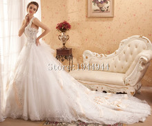 2016 Ball Gown New One Shoulder Back With Bow Chapel Train Lace Bridal Dress vestido de noiva manga longa Cheap Wedding Dresses