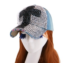 hot wholesale new most popular  women girl novelty bling rhinestone cross shaped denim baseball cap snapback hat for women girls