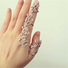 G058 Hot Steampunk Fashion Hollow Leaf Flower Full Finger Rings for Women Chian Tassel Link Double Armor Open Ring Jewelry Gift(China)