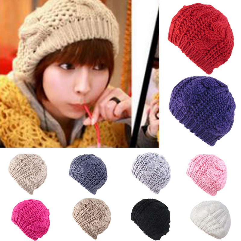 Fashion New Women Knitted Warm Winter Hats Korean Round Twist Pattern Beanies for Female Ladies Girl Beanie bonnet femme 2018(China)