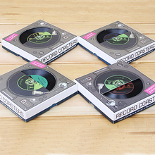10piece/5packs Creative Anti Slip Heat Vintage Retro Vinyl Record Coasters Vinyl Drink Cup Coaster Mat Table Decoration
