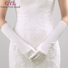 Hot Elbow Length Wedding Gloves with Finger Satin White Black Color Pascoa Free Size Bridal Glove Fast Shipping In Stock