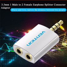 Vention 3.5mm Earphone Aux Audio Splitter Converter Adapter for Headphone PC Mobile Phone Mp3 Mp4 1 Male to 2 Female