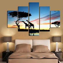 5Panel HD Print Giraffe African Elephant Oil Painting on Canvas Pop Art Modern Modular Wall Picture for Living Room Sofa Cuadros