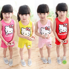 2017 New hello kitty girls clothing set vest+shorts 2-piece set clothes for girls fashion kitty baby girl clothes